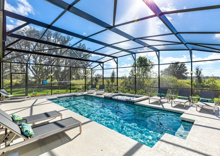 Solterra sunshine large south facing pool area, extended deck, meadow views