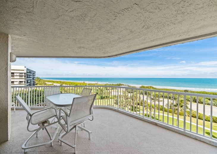Dine with view of the Atlantic on spacious balcony with lounge chairs as well.