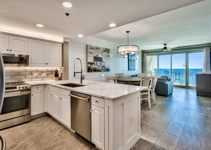 Incredible Gulf Views from the living room, dining, and kitchen