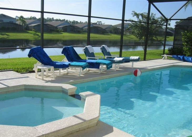 Your own pool with spa and lake view