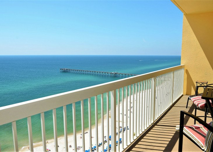 Excellent view to west with City Pier & rolling waves from your private balcony