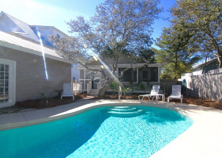 Your private heated pool is very secluded. The back yard is completely fenced.