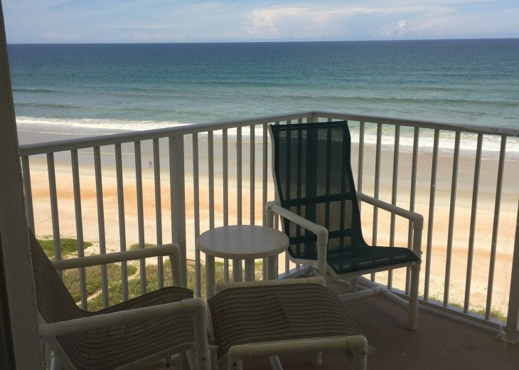 Oceanfront Balcony with seating for 4-5