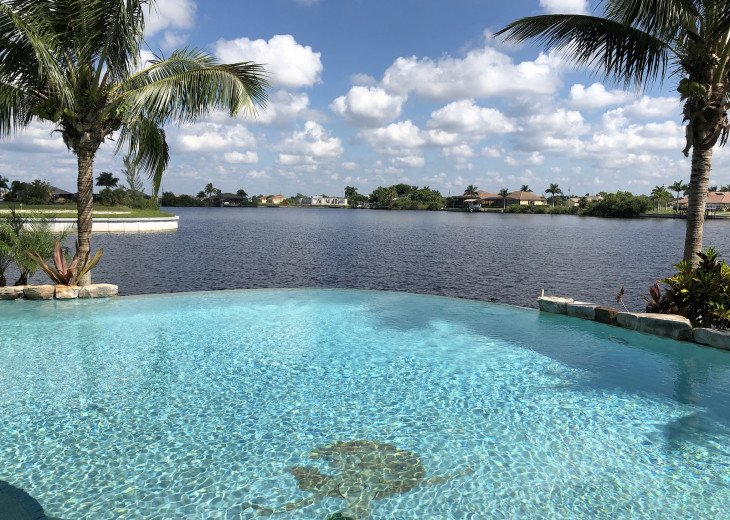 Saltwater Infinity Edge Pool and Resident Mermaid