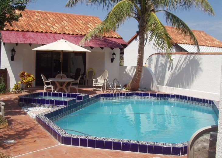 View of pool and guest house from Main Home
