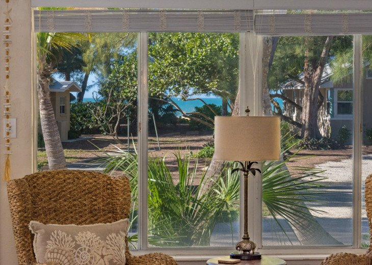View of the beach and the gulf from downstairs living area