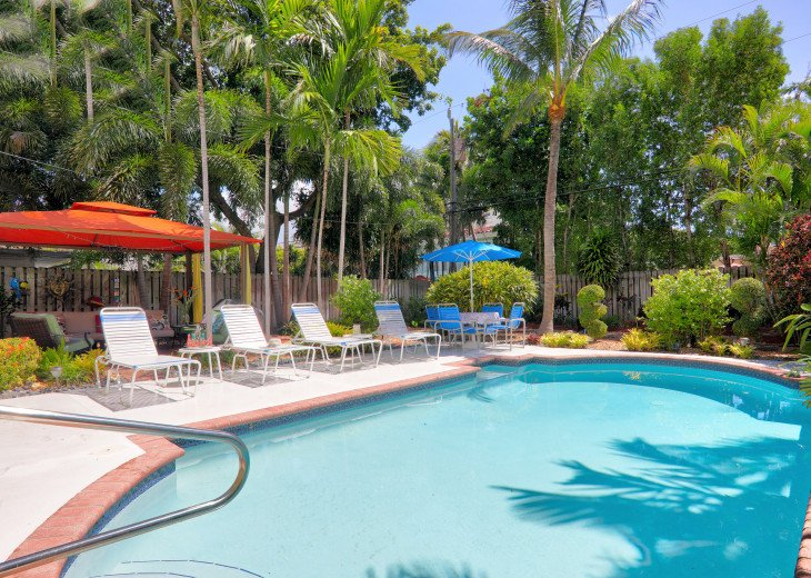 Relax by the heated private pool