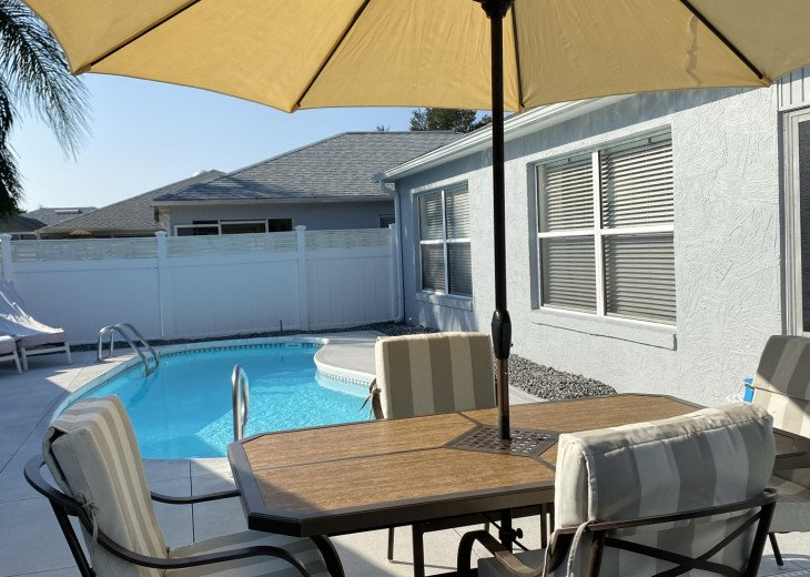 Pool and outdoor furniture.
